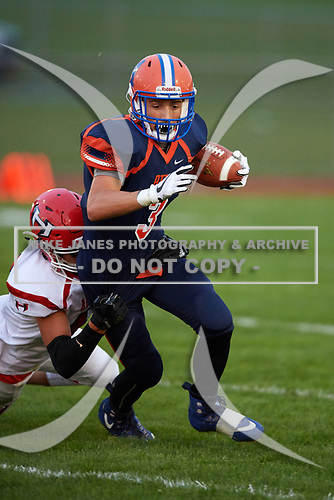Hornell Red Raiders vs Attica Blue Devils Varsity Football at Attica High School in Attica, New York.  Hornell defeated Attica 34-6.  (Mike Janes Photography)