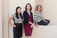 New faculty, from left, Diana Ngo, Assistant Professor, Economics, Nancy Marie Mithlo, Associate Professor, AHVA; Joint appointment at the Autry, Aleksandra Sherman, Assistant Professor, Cognitive Science. Photographed Sept. 19, 2014.<br /> (Photo by Marc Campos, Occidental College Photographer)