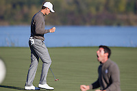 Thomas Pieters (Team Europe) on the 7th green during the Saturday morning Foursomes at the Ryder Cup, Hazeltine national Golf Club, Chaska, Minnesota, USA.  01/10/2016<br /> Picture: Golffile | Fran Caffrey<br /> <br /> <br /> All photo usage must carry mandatory copyright credit (&copy; Golffile | Fran Caffrey)