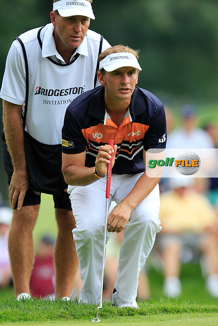 Joost LUITEN (NED) lines up his putt on the 8th green during Friday's Round 2 of the WGC Bridgestone Invitational, held at the Firestone Country Club, Akron, Ohio.: Picture Eoin Clarke, www.golffile.ie: 1st August 2014