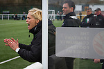 Visiting manager Shelley Kerr shouting instructions from the dugout at the Spartans versus University of Stirling Scottish Lowland League match at Ainslie Park, Edinburgh. The match was one of six attended by members of GroundhopUK over the weekend to accommodate groundhoppers, fans who attempt to visit as many football venues as possible. Around 100 fans in two coaches from England participated in the 2016 Lowland League Groundhop and they were joined by other individuals from across the UK which helped boost crowds at the six featured matches.