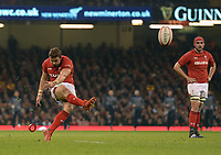Wales' Leigh Halfpenny kicks a penalty<br /> <br /> Photographer Ian Cook/CameraSport<br /> <br /> Under Armour Series Autumn Internationals - Wales v Scotland - Saturday 3rd November 2018 - Principality Stadium - Cardiff<br /> <br /> World Copyright © 2018 CameraSport. All rights reserved. 43 Linden Ave. Countesthorpe. Leicester. England. LE8 5PG - Tel: +44 (0) 116 277 4147 - admin@camerasport.com - www.camerasport.com
