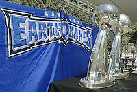 The two Alan I Rothenberg trophies won by the San Jose Earthquakes at MLS Cups 2001 and 2003 were on display for a crowd of approximately 1,500 Earthquakes fan gathered at the Soccer Silicon Valley Rally held in downtown San Jose, CA on August 20, 2004 to show support for the club.  The non-profit Soccer Silicon Valley group hope to find a local buyer or soccer specific stadium for the Earthquakes within the next month so the team is not relocated to San Antonio or Houston, TX by its current investor/operator Anschutz Entertainment Group.