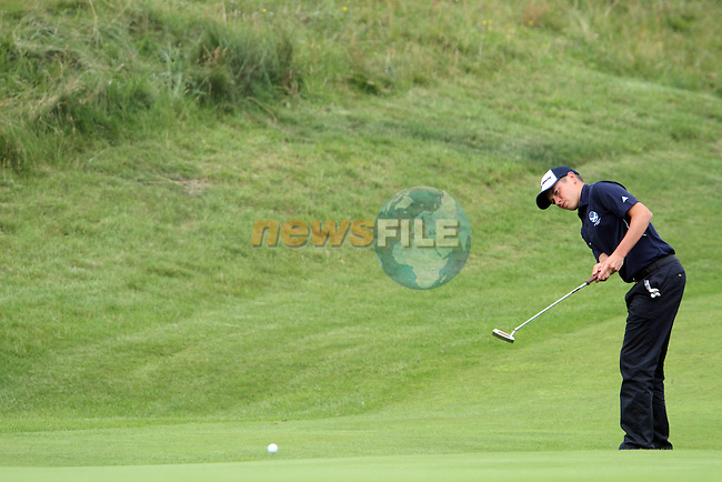 Ewen Ferguson (SCO) on the 3rd on the Final Day at the 2012 Boys Home Internationals at Co.Louth Golf Club in Baltray, Co.Louth...(Photo credit should read Jenny Matthews/NEWSFILE)...