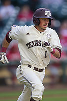 Texas A&M Aggies shortstop Blake Allemand (1) runs to first base during Houston College Classic against the Nebraska Cornhuskers on March 6, 2015 at Minute Maid Park in Houston, Texas. Texas A&M defeated Nebraska 2-1. (Andrew Woolley/Four Seam Images)