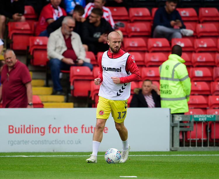 Fleetwood Town's Paddy Madden during the pre-match warm-up<br /> <br /> Photographer Andrew Vaughan/CameraSport<br /> <br /> The EFL Sky Bet League One - Lincoln City v Fleetwood Town - Saturday 31st August 2019 - Sincil Bank - Lincoln<br /> <br /> World Copyright © 2019 CameraSport. All rights reserved. 43 Linden Ave. Countesthorpe. Leicester. England. LE8 5PG - Tel: +44 (0) 116 277 4147 - admin@camerasport.com - www.camerasport.com