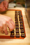 "Xocolatl Chocolate, where owner David Briggs preparing the ""Chevre Ganache"" which is ganache mixed with River's Edge Chevre cheese.  Each piece is carefully garnished with a Pepitas (pumpkin seed) - the reasoning for the garnish is that the dairy feed it's goats pumpkins as part of their diet."
