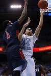16 November 2014: North Carolina's Justin Jackson (44) and Robert Morris's David Appolon (4). The University of North Carolina Tar Heels played the Robert Morris University Colonials in an NCAA Division I Men's basketball game at the Dean E. Smith Center in Chapel Hill, North Carolina. UNC won the game 103-59.