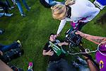 Stockholm 2013-06-23 Fotboll Superettan , Hammarby IF - &Auml;ngelholms FF :  <br /> Hammarby supporter ligger p&aring; gr&auml;smattan och blir intervjuad efter att sista matchen p&aring; S&ouml;derstadion mellan Hammarby och &Auml;ngelholm spelats klart. <br /> (Foto: Kenta J&ouml;nsson) Nyckelord:  supporter fans publik supporters