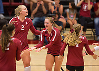 STANFORD, CA - September 9, 2018: Jenna Gray, Kathryn Plummer, Meghan McClure, Audriana Fitzmorris at Maples Pavilion. The Stanford Cardinal defeated #1 ranked Minnesota 3-1 in the Big Ten / PAC-12 Challenge.