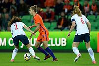 GRONINGEN -  Voetbal, Nederland - Noorwegen, Noordlease stadion, WK kwalificatie vrouwen, 24-10-2017,   Nederland speelster Vivianne Miedema met Noorwegen speelster Ingrid Moe Wold