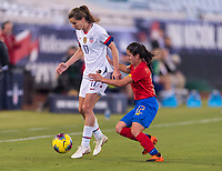 , FL - : Tobin Heath #17 of the United States keeps the ball away from Lixy Rodriguez #12 of Costa Rica during a game between  at  on ,  in , Florida.