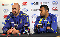 Twickenham, England. Nathan Sharpe and Kurtley Beale of Australia during the Australia training and Media session during the England captains run for the QBE Internationals England v Australia at Twickenham Stadium on 17 November. Twickenham, England, November 16. 2012.