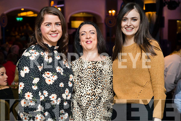 Caroline Griffin, Catherine Doolin and Fiona Hunt, pictured at Ballymac Strictly Come Dancing, at Ballygarry House Hotel & Spa, Tralee, on Saturday night last.
