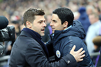 Tottenham Hotspur manager Mauricio Pochettino and Mikel Arteta of Manchester City during Tottenham Hotspur vs Manchester City, Premier League Football at Wembley Stadium on 29th October 2018