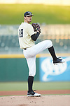 Wake Forest Demon Deacons starting pitcher Carter Bach (18) in action against the Charlotte 49ers at BB&T BallPark on March 13, 2018 in Charlotte, North Carolina.  The 49ers defeated the Demon Deacons 13-1.  (Brian Westerholt/Sports On Film)
