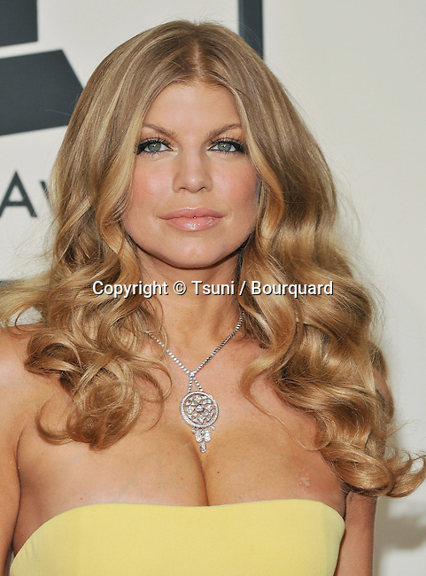 Fergie arriving at 50th Annual Grammy Award at the Staples Center In Los Angeles.<br /> <br /> headshot<br /> eye contact<br /> smile