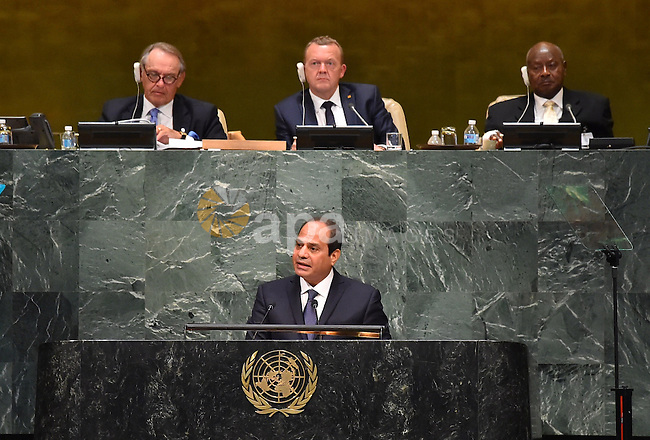 Egypt's president Abdel Fattah Al Sisi addresses a plenary meeting of the United Nations Sustainable Development Summit 2015 at United Nations headquarters in Manhattan, New York, September 25, 2015. More than 150 world leaders are expected to attend the U.N. Sustainable Development Summit from September 25-27 at the United Nations in New York to formally adopt an ambitious new sustainable development agenda a press statement by the U.N. stated. Photo by Egyptian President Office