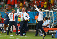 Netherlands manager Louis Van Gaal celebrates his sides second goal, 1-2