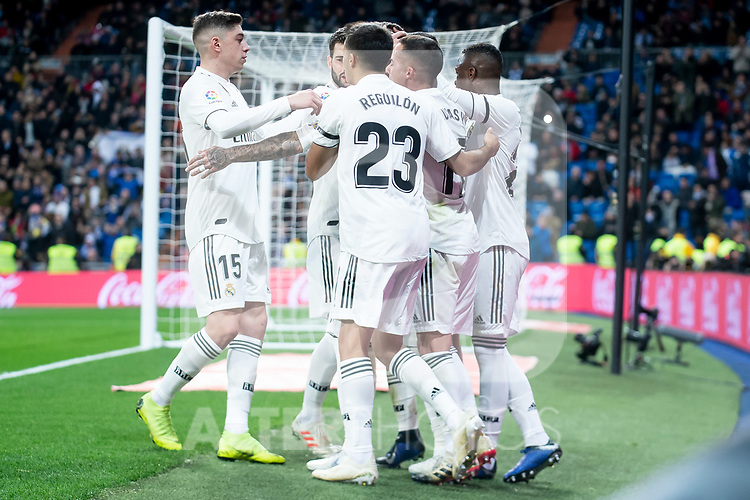 Federico Valverde, Dani Ceballos, Lucas Vazquez and Sergio Ramos of Real Madrid celebrating a goal during King's Cup 2018-2019 match between Real Madrid and CD Leganes at Santiago Bernabeu Stadium in Madrid, Spain. January 09, 2019. (ALTERPHOTOS/Borja B.Hojas)