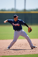 Atlanta Braves third baseman Ray Hernandez (30) during a Minor League Extended Spring Training game against the Tampa Bay Rays on April 15, 2019 at CoolToday Park Training Complex in North Port, Florida.  (Mike Janes/Four Seam Images)