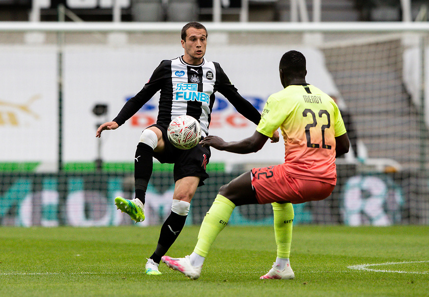 Newcastle United's Javi Manquillo battles with Manchester City's Benjamin Mendy<br /> <br /> Photographer Alex Dodd/CameraSport<br /> <br /> FA Cup Quarter-Final - Newcastle United v Manchester City - Sunday 28th June 2020 - St James' Park - Newcastle<br />  <br /> World Copyright © 2020 CameraSport. All rights reserved. 43 Linden Ave. Countesthorpe. Leicester. England. LE8 5PG - Tel: +44 (0) 116 277 4147 - admin@camerasport.com - www.camerasport.com