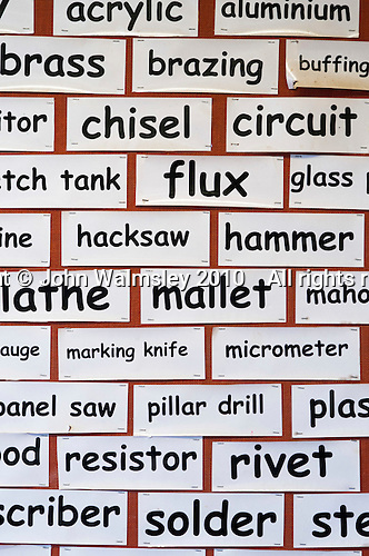 Display of relevant names, Design Technology class, state secondary school.