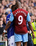 Marlon Harewod of Aston Villa and Victor Anichebe of Everton clash during the Premier League match at Goodison Park  Stadium, Liverpool. Picture date 27th April 2008. Picture credit should read: Simon Bellis/Sportimage