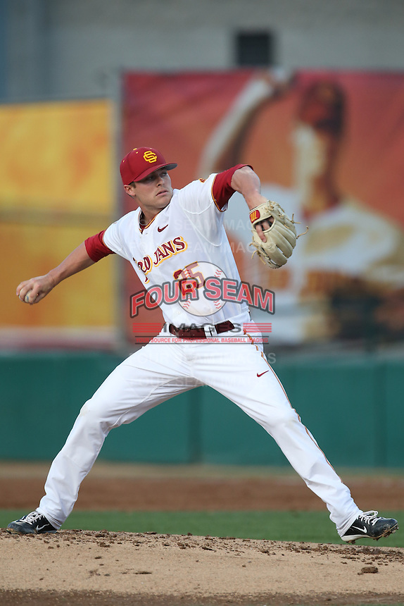 Brent Wheatley (25) of the Southern California Trojans pitches during a game against the Washington State Cougars at Dedeaux Field on March 13, 2015 in Los Angeles, California. Southern California defeated Washington State, 10-3. (Larry Goren/Four Seam Images)