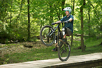 NWA Democrat-Gazette/BEN GOFF @NWABENGOFF<br /> Ryan Bratton of Bentonville rides Tuesday, May 8, 2018, at Park Springs Park in Bentonville.