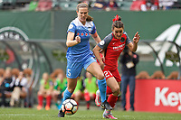 Portland, OR - Saturday April 29, 2017: Kathleen Naughton, Hayley Raso during a regular season National Women's Soccer League (NWSL) match between the Portland Thorns FC and the Chicago Red Stars at Providence Park.
