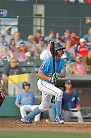 Myrtle Beach Pelicans infielder Aramis Ademan (11) at bat during a game against the Potomac Nationals at Ticketreturn.com Field at Pelicans Ballpark on July 1, 2018 in Myrtle Beach, South Carolina. Myrtle Beach defeated Potomac 6-1. (Robert Gurganus/Four Seam Images)