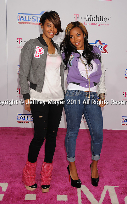 LOS ANGELES, CA - FEBRUARY 20: Vanessa Simmons and Angela Simmons arrive at the T-Mobile Magenta Carpet at the 2011 NBA All-Star Game at L.A. Live on February 20, 2011 in Los Angeles, California.