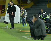 BOGOTÁ -COLOMBIA, 29-04-2015. Santiago Escobar técnico de La Equidad gesticula durante partido contra Atlético Nacional por la fecha 9 de la Liga Águila I 2015 jugado en el estadio Nemesio Camacho El Campin de la ciudad de Bogotá./ Santiago Escobar coach of La Equidad gestures during match against Atletico Nacional for the 9th date of the Aguila League I 2015 played at Nemesio Camacho El Campin stadium in Bogotá city. Photo: VizzorImage/ Gabriel Aponte / Staff