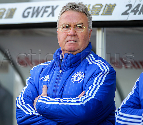 09.04.2016. Liberty Stadium, Swansea, Wales. Barclays Premier League. Swansea versus Chelsea. Chelsea's Manager Guus Hiddink before kick off