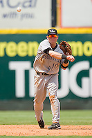 Shortstop Chris Valaika #10 of the Louisville Bats makes a throw to first base against the Charlotte Knights at Knights Stadium July 20, 2010, in Fort Mill, South Carolina.  Photo by Brian Westerholt / Four Seam Images