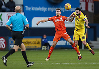 Fleetwood Town's Craig Morgan competing with Luton Town's James Collins<br /> <br /> Photographer Andrew Kearns/CameraSport<br /> <br /> The EFL Sky Bet League One - Luton Town v Fleetwood Town - Saturday 8th December 2018 - Kenilworth Road - Luton<br /> <br /> World Copyright &copy; 2018 CameraSport. All rights reserved. 43 Linden Ave. Countesthorpe. Leicester. England. LE8 5PG - Tel: +44 (0) 116 277 4147 - admin@camerasport.com - www.camerasport.com