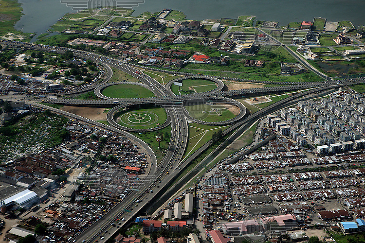 An aerial view of a road that forms part of the ring road around Lagos Island.