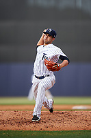 Tampa Yankees relief pitcher Josh Roeder (43) delivers a pitch during the first game of a doubleheader against the Bradenton Marauders on April 13, 2017 at George M. Steinbrenner Field in Tampa, Florida.  Bradenton defeated Tampa 4-1.  (Mike Janes/Four Seam Images)