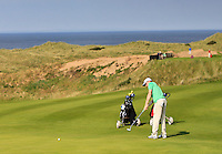 Stuart Grehan (IRL) on the 14th green during the Afternoon Singles between Ireland and Wales at the Home Internationals at Royal Portrush Golf Club on Thursday 13th August 2015.<br /> Picture:  Thos Caffrey / www.golffile.ie