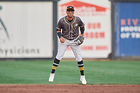 Quad Cities River Bandits shortstop Miguelangel Sierra (4) during a game against the West Michigan Whitecaps on July 22, 2018 at Modern Woodmen Park in Davenport, Iowa.  West Michigan defeated Quad Cities 6-4.  (Mike Janes/Four Seam Images)