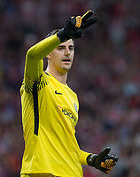 Chelsea´s goalkeeper Thibaut Courtois during the UEFA Champions League group C match between Atletico Madrid and Chelsea played at the Wanda Metropolitano Stadium in Madrid, on September 27th 2017.