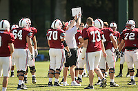 26 April 2007: Tim Drevno shows the offensive line a play during a spring practice at the practice field in Stanford, CA.