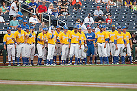 UC Santa Barbara Gauchos before Game 5 of the NCAA College World Series against the Miami Hurricanes on June 20, 2016 at TD Ameritrade Park in Omaha, Nebraska. UC Santa Barbara defeated Miami  5-3. (Andrew Woolley/Four Seam Images)