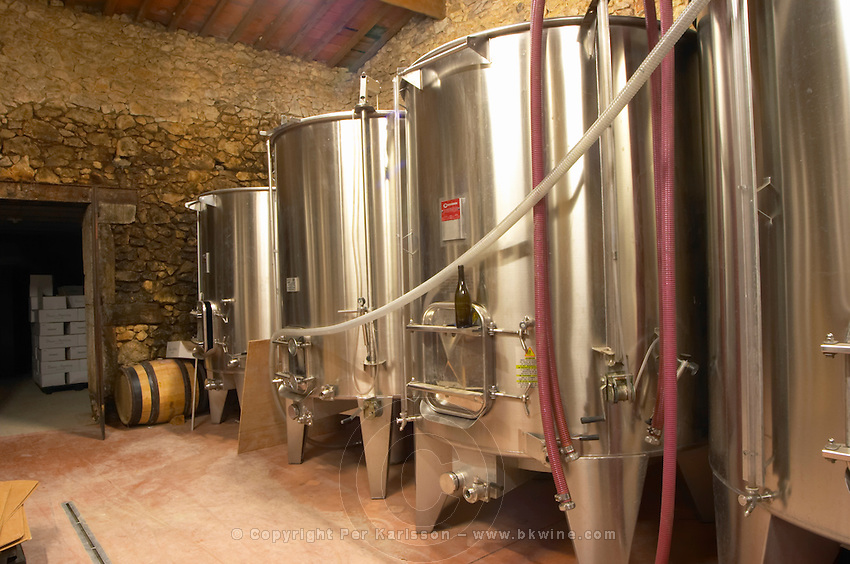 Domaine de Montcalmes in Puechabon. Terrasses de Larzac. Languedoc. Stainless steel fermentation and storage tanks. France. Europe.