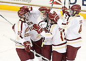 Paul Carey (BC - 22), Edwin Shea (BC - 8), Pat Mullane (BC - 11), Johnny Gaudreau (BC - 13) and Tommy Cross (BC - 4) celebrate Mullane's goal wihch gave BC a 1-0 lead late in the second period. - The Boston College Eagles defeated the visiting University of Massachusetts-Amherst Minutemen 2-1 in the opening game of their 2012 Hockey East quarterfinal matchup on Friday, March 9, 2012, at Kelley Rink at Conte Forum in Chestnut Hill, Massachusetts.