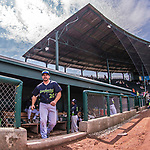 4 September 2017: Vermont Lake Monsters catcher Jarrett Costa emerges from the dugout prior to the first game of a double-header against the Tri-City ValleyCats at Centennial Field in Burlington, Vermont. The teams split their day, with Tri-City winning 6-5 in the first game, and the Lake Monsters taking the second 7-4 in NY Penn League action. Mandatory Credit: Ed Wolfstein Photo *** RAW (NEF) Image File Available ***