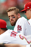 Memphis Redbirds right fielder Nick Martini (16) in the dugout during a game against the Iowa Cubs on May 29, 2017 at AutoZone Park in Memphis, Tennessee.  Memphis defeated Iowa 6-5.  (Mike Janes/Four Seam Images)