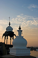 Scenic view of palace domes from the rooftop at dusk in Rajasthan, India. (Photo by Matt Considine - Images of Asia Collection)