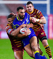 Picture by Alex Whitehead/SWpix.com - 08/02/2018 - Rugby League - Betfred Super League - Huddersfield Giants v Warrington Wolves - John Smith's Stadium, Huddersfield, England - Warrington's Ryan Atkins is tackled by Huddersfield's Jordan Turner and Danny Brough.